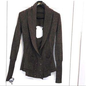 AllSaints Pavo Wool Deconstructed Cardigan Sweater